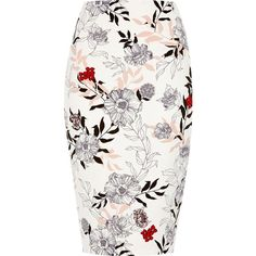 River Island Cream floral print pencil skirt (190 BRL) ❤ liked on Polyvore featuring skirts, cream, women, high-waisted pencil skirts, high waist knee length pencil skirt, pencil skirt, white pencil skirt and high waisted floral skirt