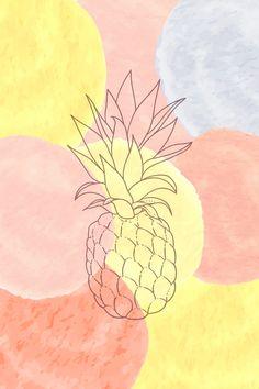 Pineapple Watercolor Spots Art Print by Atelier Seneca | Society6