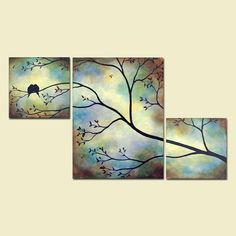 Birds Bees in Tree Branch Large Wall Art 42 x 24 Blue Painting Triptych Custom Large Painting bedroom painting