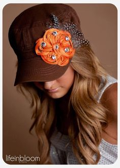 Brown Cadet Hat with orange flower with a lil bling!!