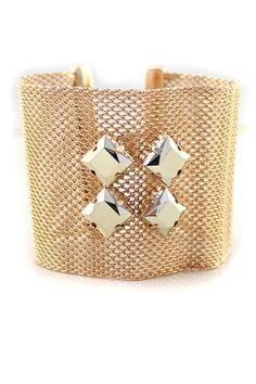 Metallic Nets Cuff-shape Bracelet with Four Stars [FWBJ00194]- US$ 4.99 - PersunMall.com