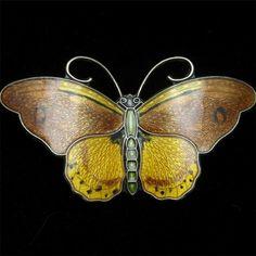 Butterfly Pin Vintage Enamel Sterling Silver Hroar Prydz Norway Brooch | eBay