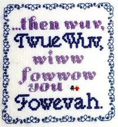 Princess Bride Twue Wuv Cross-stitch Pattern by FlockOfHounds