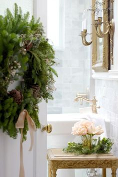French Country Cottage Christmas Home Holiday Decorating Bathroom style decor house