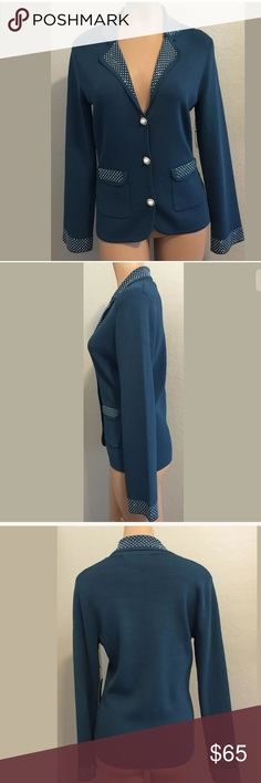 """BCBG MAX AZRIA Medium sweater cardigan blue Beautiful Max AZRIA Medium sweater cardigan. Blue embellished, pockets, long sleeve. Bust 18"""" armpit to armpit buttoned closed. Waist 16"""" side to side. Sleeve 23 1/2"""" Length 24"""" shoulder to hem. Measurements are approximate. MSRP $240.00 BCBG MAX ARZIA Sweaters Cardigans"""