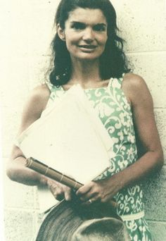 Jackie Kennedy in the hall outside the art school she attended all through June of 1966 in Hawaii