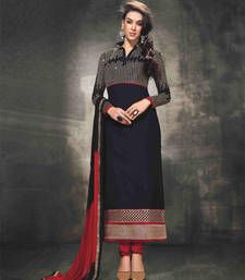 Buy Black embroidered georgette semi stitched salwar with dupatta wedding-salwar-kameez online