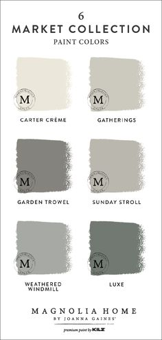 magnolia homes joanna gaines Start your next DIY home makeover project off on a beautiful note with this market collection paint color palette from the Magnolia Home by Joan Magnolia Paint Colors, Magnolia Homes Paint, Paint Colors For Living Room, Paint Colors For Home, Paint Colours, Magnolia Joanna Gaines, Matching Paint Colors, Farmhouse Paint Colors, Farm House Colors