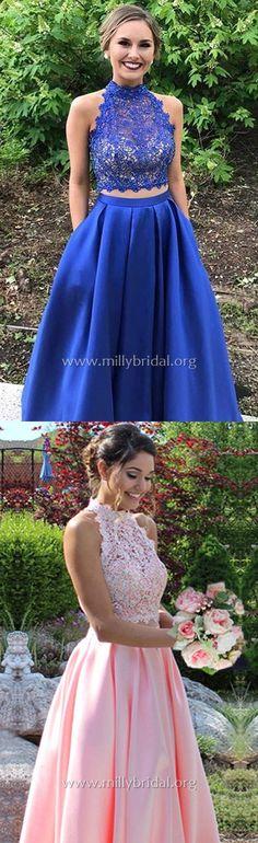 Long Prom Dresses,Princess Formal Evening Dresses High Neck,Blue Graduation Dresses Lace,Satin Sweet 16 Beading #bluedresses
