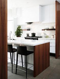 walnut and white lacquer modern kitchen /