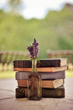 sweet romance. Borrow old love poem books from the library for the centerpieces :-)