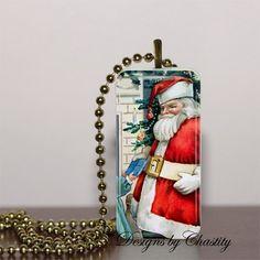 Vintage Santa Bronzed Domino Necklace Pendant   chastity00 - Jewelry on ArtFire