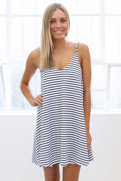 holly striped dress - white |  Esther Boutique