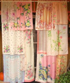 Turn a tea towel or handkerchief collection into curtains.