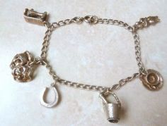 Vintage Silver Tone Coming Of Age Charm Bracelet.