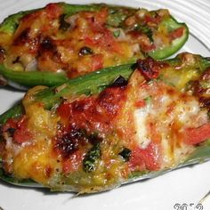 I love pico de gallo and cheese. This is a quick, tasty, hot appetizer. These can be cooked in the oven or on the grill. And thanks to my friend Laura L. for helping choose the name! Vegetable Appetizers, Finger Food Appetizers, Veggie Recipes, Mexican Food Recipes, Appetizer Recipes, Cooking Recipes, What's Cooking, Finger Foods, Poppers Recipe