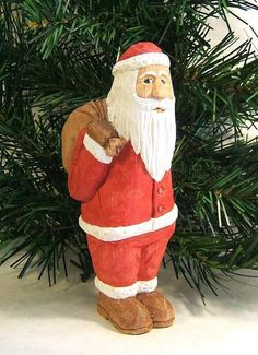 Santa Claus With Bag Wood Carving Art by ClaudesWoodcarving