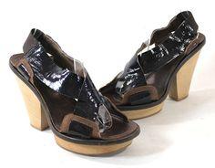 b1733c7b2ad Marni Brown Black Patent Leather Sandals Platforms Heels Shoes 39  Marni   PlatformsWedges Black Patent