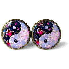 Nu Goth Bubblegum Floral & White Yin Yang Earrings, 90s Soft Grunge... (13 CAD) ❤ liked on Polyvore featuring jewelry, earrings, accessories, clear jewelry, clear crystal jewelry, gothic jewellery, white jewelry and grunge jewelry