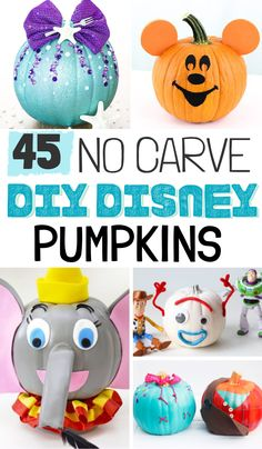These DIY Disney No Carve Pumpkins are the perfect way for Disney lovers to celebrate the holiday season. Make pumpkin decorating cute and easy again! Pumpkin Decorating Contest, Pumpkin Contest, Disney Diy, Disney Crafts, Vintage Halloween, Halloween Diy, Halloween Dinner, Halloween Snacks, Disney Pumpkin