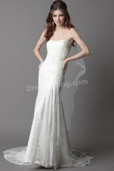 Empire Strapless Court Train Chiffon Lace Modern Wedding Dress 2012
