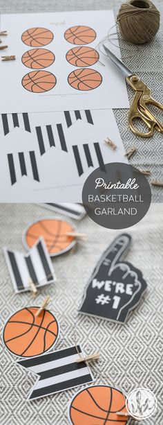 FREE printable basketball party garland download - basketball entertaining party decor ideas