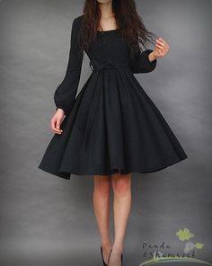 236c9a6fe7 BLACK DRESS Let s dance dress winter long sleeves flowing women dress round  neck