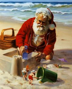 Santa and elves build a sand castle - by Tom Browning -- (coastal Christmas, beach, seashore, illustration, art)