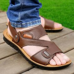 New Men Outdoor Sandals Shoes Leather Soft Comfortable Summer Beach Shoes Flat S - US$22.64