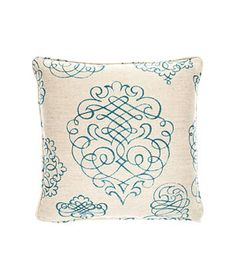 i love this! Calligraphy Harbor cotton-and-linen pillow with down fill (17 inches square), $240, mgbwhome.com for stores.