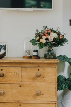 Autumn Flower Bouquet On Pine Chest Of Drawers - A Modern Country Farrow & Ball Kitchen With Oak Parquet Flooring