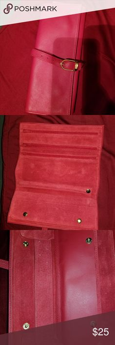 Leather & Suede jewelry case Red leather & suede travel jewelry case Accessories