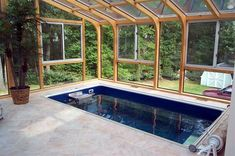 An endless pool. Swimming Pool Enclosures, Indoor Swimming Pools, Swimming Pool Designs, Small Indoor Pool, Small Backyard Pools, Small Pools, Jacuzzi, Porches, Cool Pools