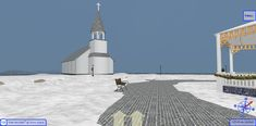 Distant view of the Old Church at Snow Island. Details are added as you walk closer - that is what makes it 3D Browsing. WalkTheWeb.com