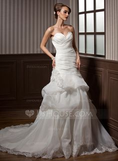 Wedding Dresses - $204.69 - A-Line/Princess Sweetheart Chapel Train Organza Wedding Dress With Ruffle Lace Flower(s) (002012788) http://jjshouse.com/A-Line-Princess-Sweetheart-Chapel-Train-Organza-Wedding-Dress-With-Ruffle-Lace-Flower-S-002012788-g12788?ver=xdegc7h0
