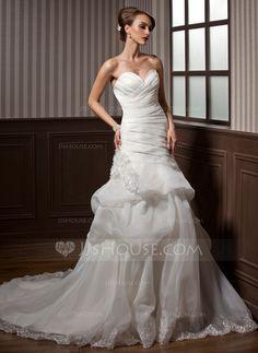 Wedding Dresses - $204.69 - A-Line/Princess Sweetheart Chapel Train Organza Wedding Dress With Ruffle Lace Flower(s) (002012788) http://jjshouse.com/A-Line-Princess-Sweetheart-Chapel-Train-Organza-Wedding-Dress-With-Ruffle-Lace-Flower-S-002012788-g12788?ver=xdegc7h0