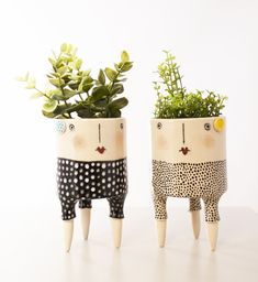Handmade Ceramics and Illustrations. Face Planters, Ceramic Planters, Ceramic Clay, Ceramic Pottery, Home Crafts, Diy And Crafts, Pottery Lessons, Ceramic Workshop, Pot Plante