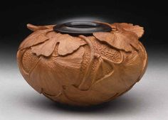 Ginkgo pot by Dixie Biggs ( turned wood but could be textures in clay)
