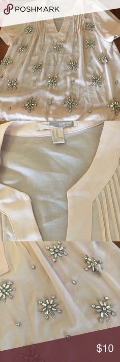 Jeweled detail sheer blouse Light pink sheer blouse with pretty jewel detail on the front. Worn only once, in good condition, with only one or two loose beads. V-neck with pleated detail. Loose and flowy fit, runs a little big. 100% polyester Forever 21 Tops Blouses