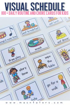 Home Visual Schedule Cards Daily routine and chore chart cards for kids