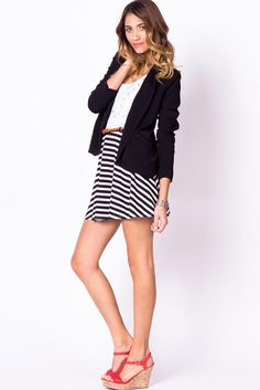 striped skirt, navy blazer, red details. perfect.