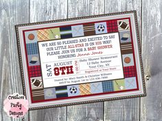 Sports Baby Shower Invitation - Sports Themed Baby Shower - Baby Boy Sports Baby Shower - Sports Baby Invitations - Printable - Baby Quilt by CreativePartyDesigns on Etsy Baby Boys, Baby Boy Baptism, Baby Shower Fun, Baby Shower Themes, Trendy Baby, Boys Toy Box, Girl Gift Baskets, Baby Girl Crochet Blanket, Baby Bath Time