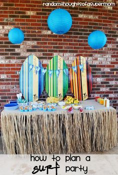Several cute ideas for a surf-theme party.  There's a snow cone station too, but if you're actually in Hawaii, it's shave ice all the way.  (Random Thoughts of a SUPERMOM!)