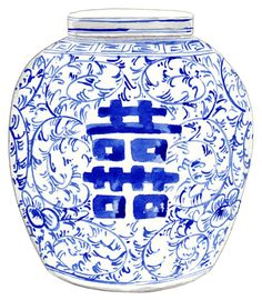 Blue and White Ginger Jar Vase No. 8 ORIGINAL by LauraRowStudio