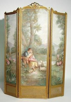 Louis Xvi, Hand Painted Furniture, Furniture Decor, Antique Furniture, Baroque, Rococo, Dressing Screen, Decorative Screens, Art Nouveau