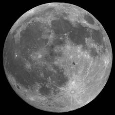 The international space station in front of the moon