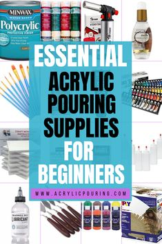 Here's exactly what you need to get started on your Acrylic Pouring journey! These are the essential supplies for fluid painting Acrylic Painting Tips, Flow Painting, Watercolor Painting Techniques, Pour Painting, Painting Lessons, Watercolor Tips, Acrylic Canvas, Abstract Paintings, Oil Paintings