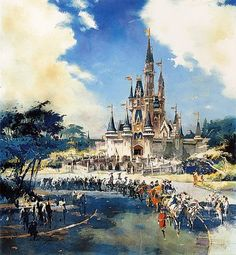 Conceptual artwork for WDW's Magic Kingdom, by Herb Ryman. I LOVE Disney history and artwork. Stunning.