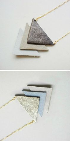Creative Leather Crafts - Leather Geometric Necklace - Best DIY Projects Made With Leather - Easy Handmade Do It Yourself Gifts and Fashion - Cool Crafts and DYI Leather Projects With Step by Step Tutorials Clay Jewelry, Jewelry Crafts, Fine Jewelry, Handmade Jewelry, Jewelry Making, Diy Jewellery, Designer Jewellery, Jewelry Ideas, Gold Jewelry