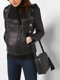 Knit-Collar Leather Jacket by Michael Kors